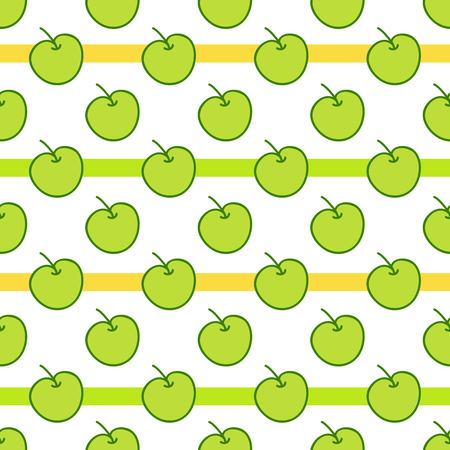 green apples: Seamless summer background. Hand drawn pattern. Suitable for fabric, greeting card, advertisement, wrapping. Bright and colorful green apples