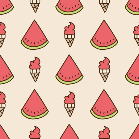 summery: Seamless summer background. Hand drawn pattern. Suitable for fabric, greeting card, advertisement, wrapping. Bright and colorful slices of watermelon and watermelon ice cream cone. Summer pattern Stock Photo