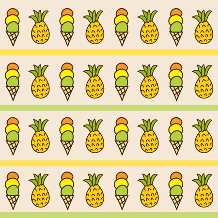 estival: Seamless summer background. Hand drawn pattern. Suitable for fabric, greeting card, advertisement, wrapping. Bright and colorful ice cream cone and pineapple