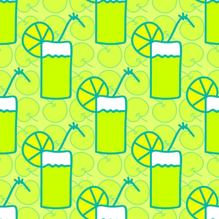summery: Seamless summer background. Hand drawn pattern. Suitable for fabric, greeting card, advertisement, wrapping. Bright colorful apple cocktail with slice of acid lemon or lime. Seamless summer pattern Stock Photo