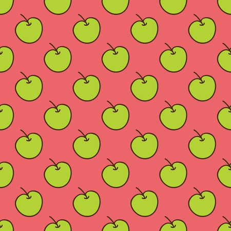 estival: Seamless summer background. Hand drawn pattern. Suitable for fabric, greeting card, advertisement, wrapping. Bright and colorful green apples