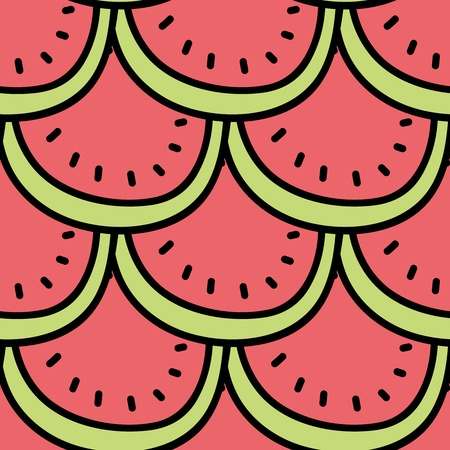 summerly: Seamless summer background. Hand drawn pattern. Suitable for fabric, greeting card, advertisement, wrapping. Bright and colorful slices of watermelon pattern