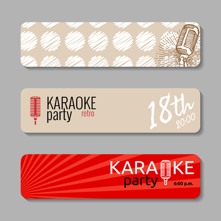 manually: Retro microphone backgrounds. Suitable for web  ad, invitation to karaoke night party. Vintage design element