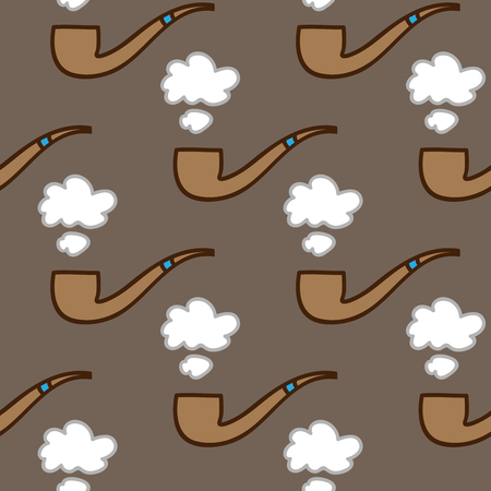 tobacco pipe: Seamless smoking pipe background. Hand drawn pattern. Suitable for fabric, greeting card, advertisement, wrapping. Bright and colorful tobacco pipe and puff of smoke seamless pattern