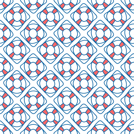summerly: Seamless sea background. Hand drawn blue and white pattern. Suitable for fabric, greeting card, advertisement, wrapping. Bright and colorful lifebuoy seamless pattern Illustration