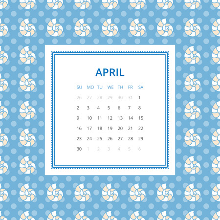 mollusc: April 2017. One month calendar vector template in a page, square format. Hand drawn seamless pattern on background. Week starts on Sunday. Blue and white colors