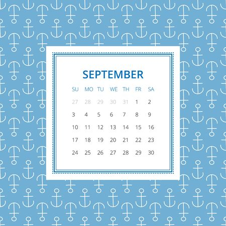 ahoy: September 2017. One month calendar vector template in a page, square format. Hand drawn seamless pattern on background. Week starts on Sunday. Blue and white colors Illustration