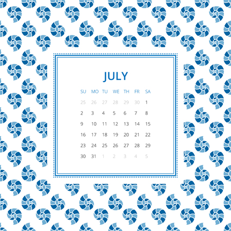 mollusc: July 2017. One month calendar vector template in a page, square format. Hand drawn seamless pattern on background. Week starts on Sunday. Blue and white colors