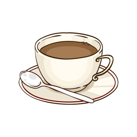 teaspoon: Cup of coffee or black tea with saucer and teaspoon. Vector hand drawn illustration, isolated on white Illustration