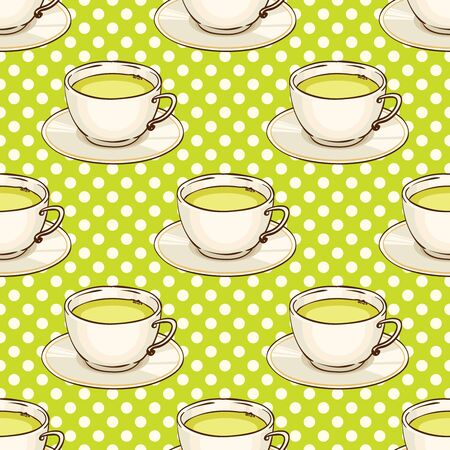 Cups of green tea with saucer. Vector hand drawn illustration. Tileable spotted seamless pattern Illustration
