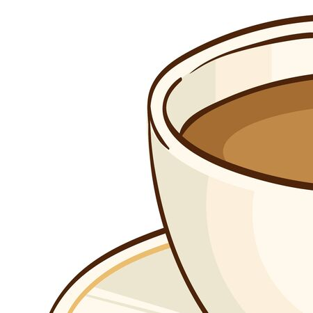 tea cosy: Cup of coffee or black tea with saucer. Vector hand drawn illustration, isolated on white