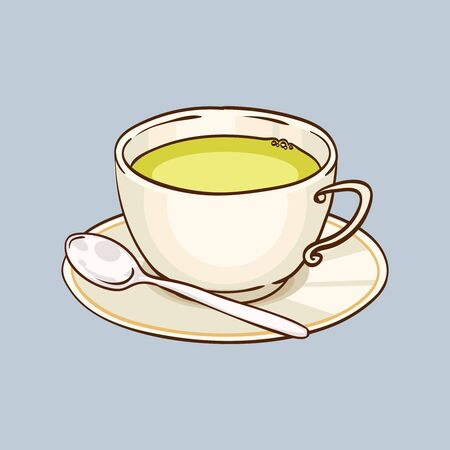teaspoon: Cup of green tea with saucer and teaspoon. Vector hand drawn illustration, gray background