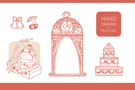 honeymoon: Design elements for wedding and honeymoon. Could be used in greeting card, wedding invitation, poster design, etc. Vintage style, hand drawn pen and ink