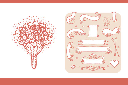 conjugal: Design elements for wedding and honeymoon. Could be used in greeting card, wedding invitation, poster design, etc. Vintage style, hand drawn pen and ink