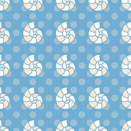 summerly: Seamless sea background. Hand drawn pattern with Mollusc shell. Suitable for fabric, greeting card, advertisement, wrapping. Bright and colorful nautilus seamless pattern Illustration