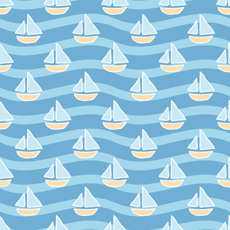 sailing ships: Seamless sea background. Hand drawn pattern. Suitable for fabric, greeting card, advertisement, wrapping. Bright and colorful sailing ships seamless pattern