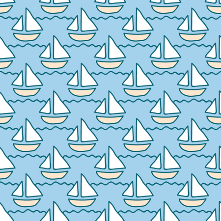 summerly: Seamless sea background. Hand drawn pattern. Suitable for fabric, greeting card, advertisement, wrapping. Bright and colorful sailing ships on waves seamless pattern