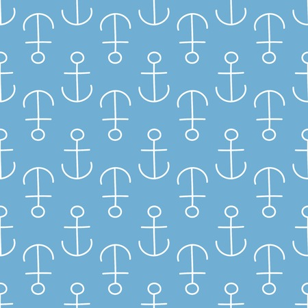 summerly: Seamless sea background. Hand drawn blue and white pattern. Suitable for fabric, greeting card, advertisement, wrapping. Bright and colorful anchor seamless pattern