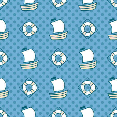 summerly: Seamless sea background. Hand drawn childish pattern. Suitable for fabric, greeting card, advertisement, wrapping. Bright and colorful sailing ships and lifebuoy seamless pattern