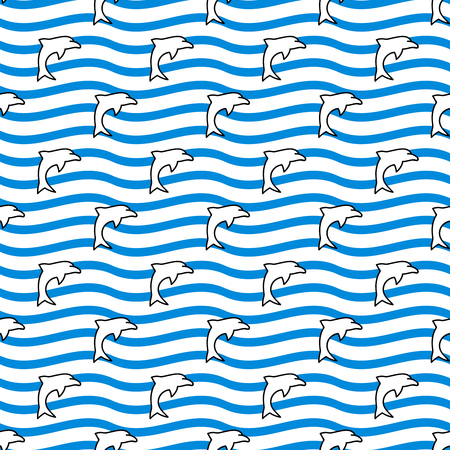 summerly: Seamless sea background. Hand drawn blue, white and black pattern. Suitable for fabric, greeting card, advertisement, wrapping. Bright and colorful waves and pod of dolphins seamless pattern Illustration