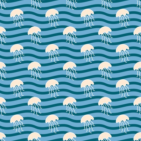 summerly: Seamless sea background. Hand drawn pattern. Suitable for fabric, greeting card, advertisement, wrapping. Bright and colorful jellyfish in the waves seamless pattern