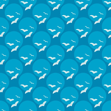 summerly: Seamless sea background. Hand drawn blue and white pattern. Suitable for fabric, greeting card, advertisement, wrapping. Bright and colorful seamless pattern with flocks of seagulls