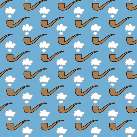 summerly: Seamless smoking pipe background. Hand drawn pattern. Suitable for fabric, greeting card, advertisement, wrapping. Bright and colorful tobacco pipe and puff of smoke seamless pattern