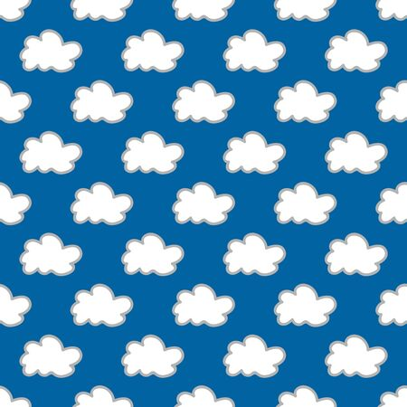 summerly: Seamless cloud background. Hand drawn pattern. Suitable for fabric, greeting card, advertisement, wrapping. Bright and colorful cloudy seamless pattern
