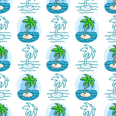summerly: Seamless sea background. Hand drawn pattern. Suitable for fabric, greeting card, advertisement, wrapping. Bright and colorful island seamless pattern