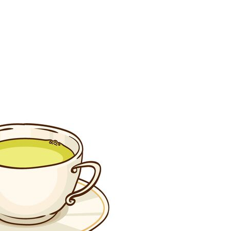 tea cosy: Cup of green tea with saucer. Vector hand drawn illustration, isolated on white