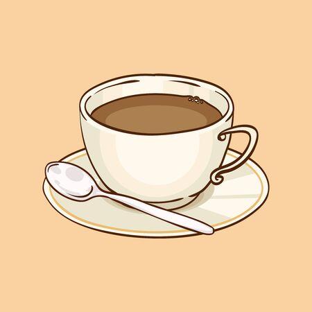 teaspoon: Cup of coffee or black tea with saucer and teaspoon. Vector hand drawn illustration