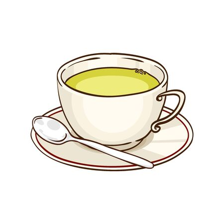 Cup of green tea with saucer and teaspoon. Vector hand drawn illustration, isolated on white Illustration