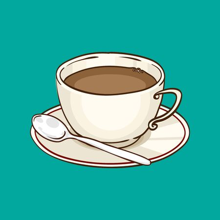 Cup of coffee or black tea with saucer and teaspoon. Vector hand drawn illustration