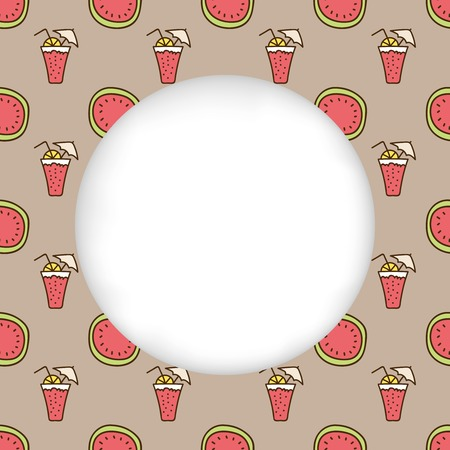 estival: Greeting card background. Paper cut out, white shape with place for text. Frame with seamless pattern. Seamless summer background. Hand drawn pattern. Bright watermelon and cocktail backdrop