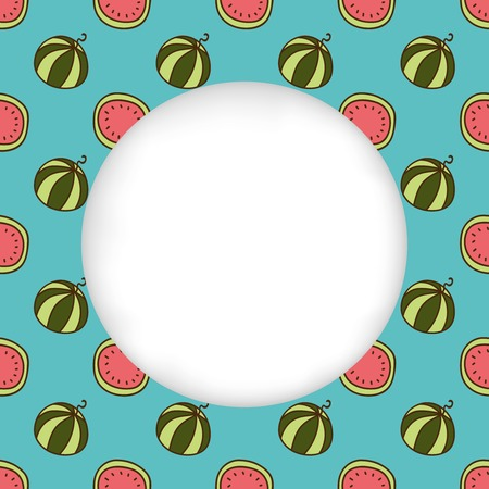 estival: Greeting card background. Paper cut out, white shape with place for text. Frame with seamless pattern. Seamless summer background. Hand drawn pattern. Bright and colorful watermelon backdrop