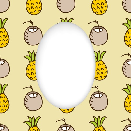 estival: Greeting card background. Paper cut out, white shape with place for text. Frame with seamless pattern. Seamless summer background. Hand drawn pattern. Bright colorful pineapple and cocktail backdrop