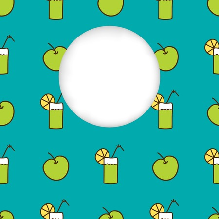 cuted: Greeting card background. Paper cut out, white shape with place for text. Frame with seamless pattern. Seamless summer background. Hand drawn pattern. Bright colorful green apple and cocktail backdrop