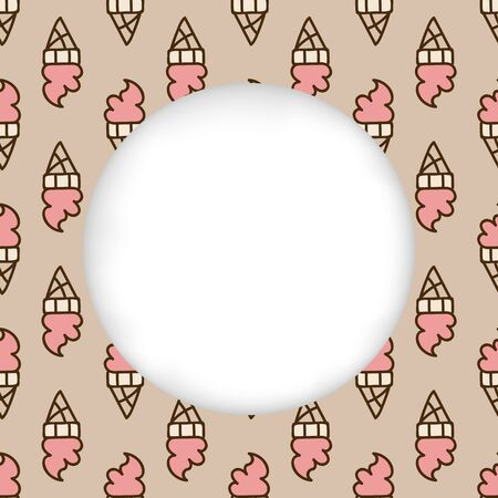 cuted: Greeting card background. Paper cut out, white shape with place for text. Frame with seamless pattern. Seamless summer background. Hand drawn pattern. Pink delicious ice cream cone pattern