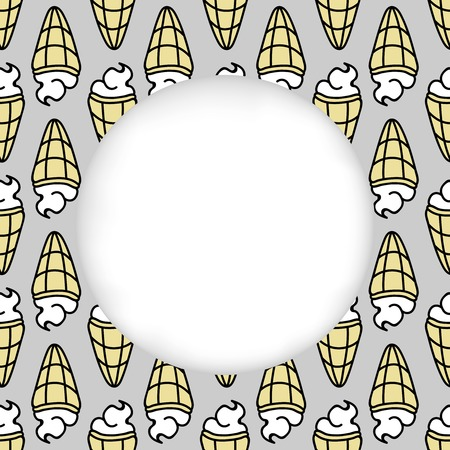 estival: Greeting card background. Paper cut out, white shape with place for text. Frame with seamless pattern. Seamless summer background. Hand drawn pattern. Bright and colorful ice cream cone backdrop
