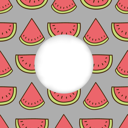 cuted: Greeting card background. Paper cut out, white shape with place for text. Frame with seamless pattern. Seamless summer background. Hand drawn pattern. Bright and colorful watermelon backdrop