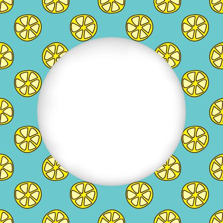 estival: Greeting card background. Paper cut out, white shape with place for text. Frame with seamless pattern. Seamless summer background. Hand drawn pattern. Bright and colorful lemon slices backdrop