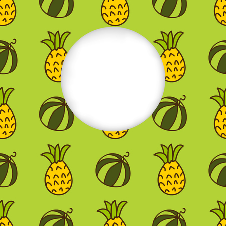 estival: Greeting card background. Paper cut out, white shape with place for text. Frame with seamless pattern. Seamless summer background. Hand drawn pattern. Bright colorful watermelon and pineapple pattern