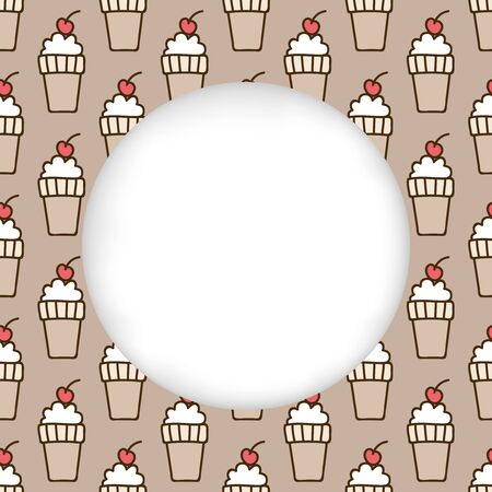 estival: Greeting card background. Paper cut out, white shape with place for text. Frame with seamless pattern. Seamless summer background. Hand drawn pattern. Bright colorful ice-cream cone cherry backdrop Illustration