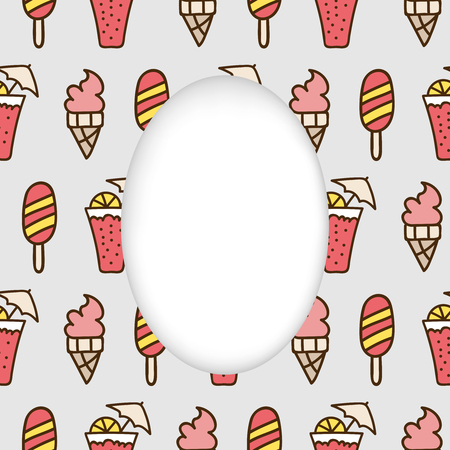 estival: Greeting card background. Paper cut out, white shape with place for text. Frame with seamless pattern. Seamless summer background. Hand drawn pattern. Bright colorful cocktail and ice cream backdrop