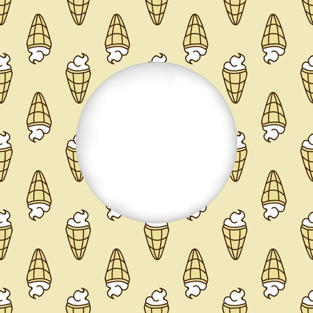 cuted: Greeting card background. Paper cut out, white shape with place for text. Frame with seamless pattern. Seamless summer background. Hand drawn pattern. Bright and colorful ice cream cone backdrop
