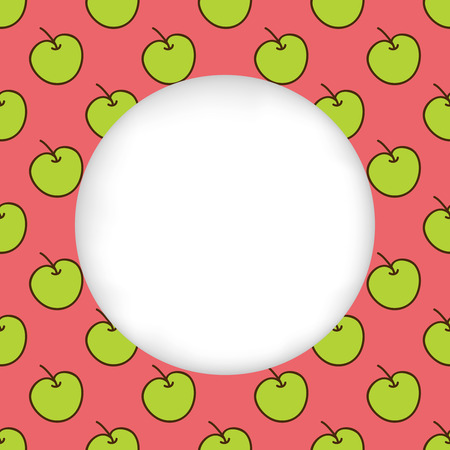 green apples: Greeting card background. Paper cut out, white shape with place for text. Frame with seamless pattern. Seamless summer background. Hand drawn pattern. Bright and colorful green apples on red Illustration