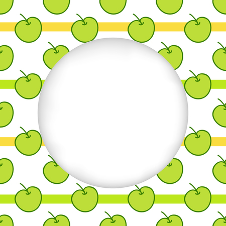 cuted: Greeting card background. Paper cut out, white shape with place for text. Frame with seamless pattern. Seamless summer background. Hand drawn pattern. Bright and colorful green apples