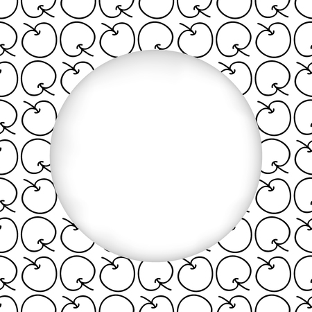 estival: Greeting card background. Paper cut out, white shape with place for text. Frame seamless pattern. Seamless summer hand drawn pattern. Black and white apples. Graphic monochrome minimalistic pattern Illustration