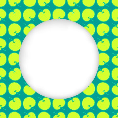 estival: Greeting card background. Paper cut out, white shape with place for text. Frame seamless pattern. Seamless summer background. Bright colorful green apples. Seamless harvest summer hand drawn pattern