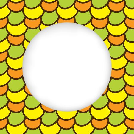 Greeting card background. Paper cut out, white shape with place for text. Frame seamless pattern. Summer hand drawn pattern. Bright and colorful abstract multicolored corn kernels. Summer pattern corn Illustration